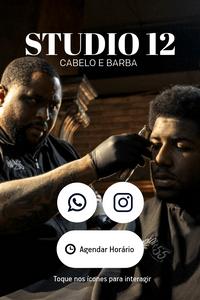 Cartão de Visita Digital Interativo 360tools CVODITKAT2 Studio 12 Cabelo e Barba Barbearia