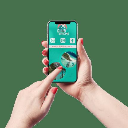 Cartão de Visita Digital e Interativo Mãos P Agência de Turismo