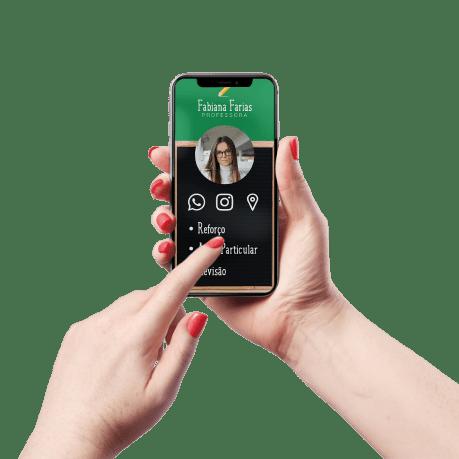 Cartão de Visita Digital e Interativo Mãos P Aulas Partuculares