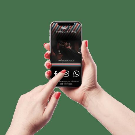 Cartão de Visita Digital e Interativo Mãos P Barbearia