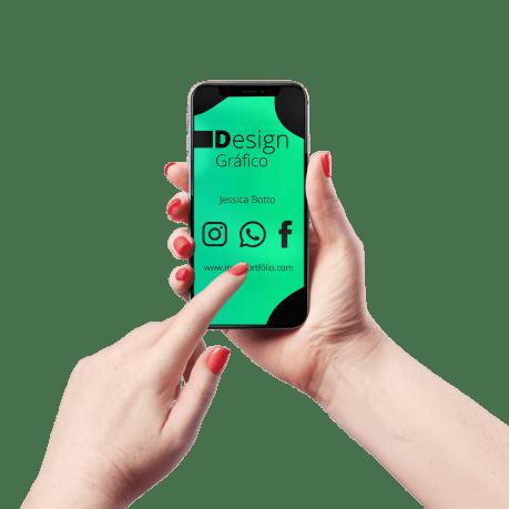 Cartão de Visita Digital e Interativo Mãos P Design Gráfico