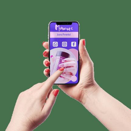 Cartão de Visita Digital e Interativo Mãos P Manicure