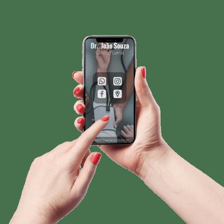 Cartão de Visita Digital e Interativo Mãos P Médico