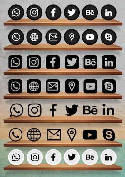 Cartão de Visitas Digital Interativo Kit Icones de Redes Sociais 2