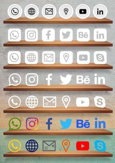 Cartão de Visitas Digital Interativo Kit Icones de Redes Sociais 3