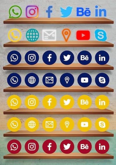 Cartão de Visitas Digital Interativo Kit Icones de Redes Sociais 4