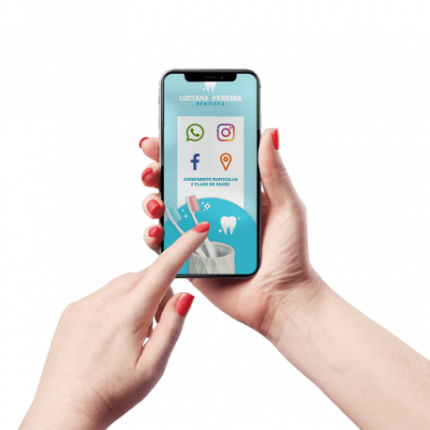 Cartão de Visita Digital e Interativo Mãos P Dentista