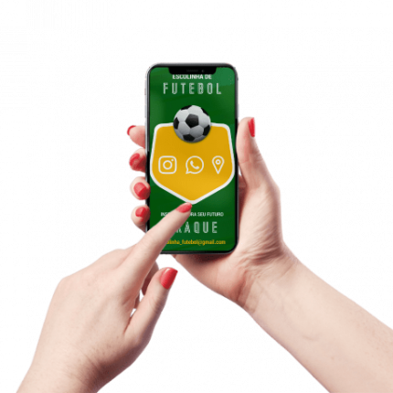 Cartão de Visita Digital e Interativo Mãos P Escolinha de Futebol