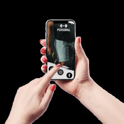 Cartão de Visita Digital e Interativo Mãos P Personal Trainer