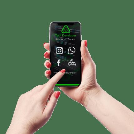 Cartão de Visita Digital e Interativo Mãos P Tech Developer